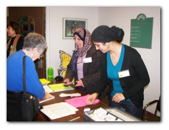Kafi Ahmad and Irum Hussein staff the registration table for the monthly meetings. There's always a friendly face to great you at a WTB meeting. Come and bring a friend.