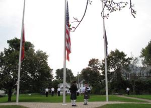 A memorial service at Sheridan Park