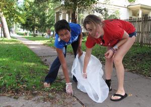 Picking up trash on Westcott Street