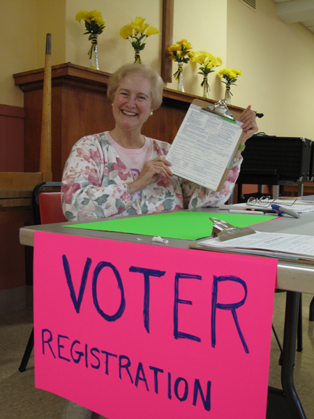 Voter registration at Downtown hub.