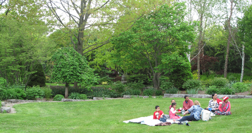 A family relaxing on the lawn