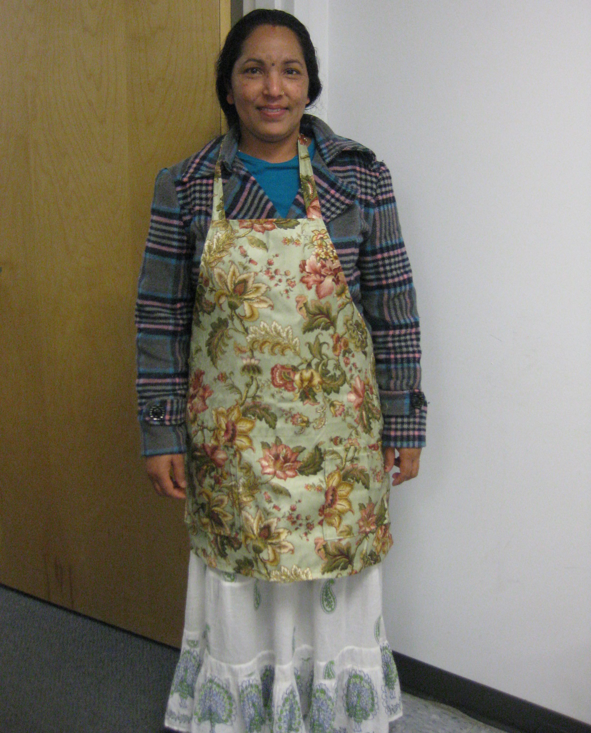 Sewing class - a student and the apron she made