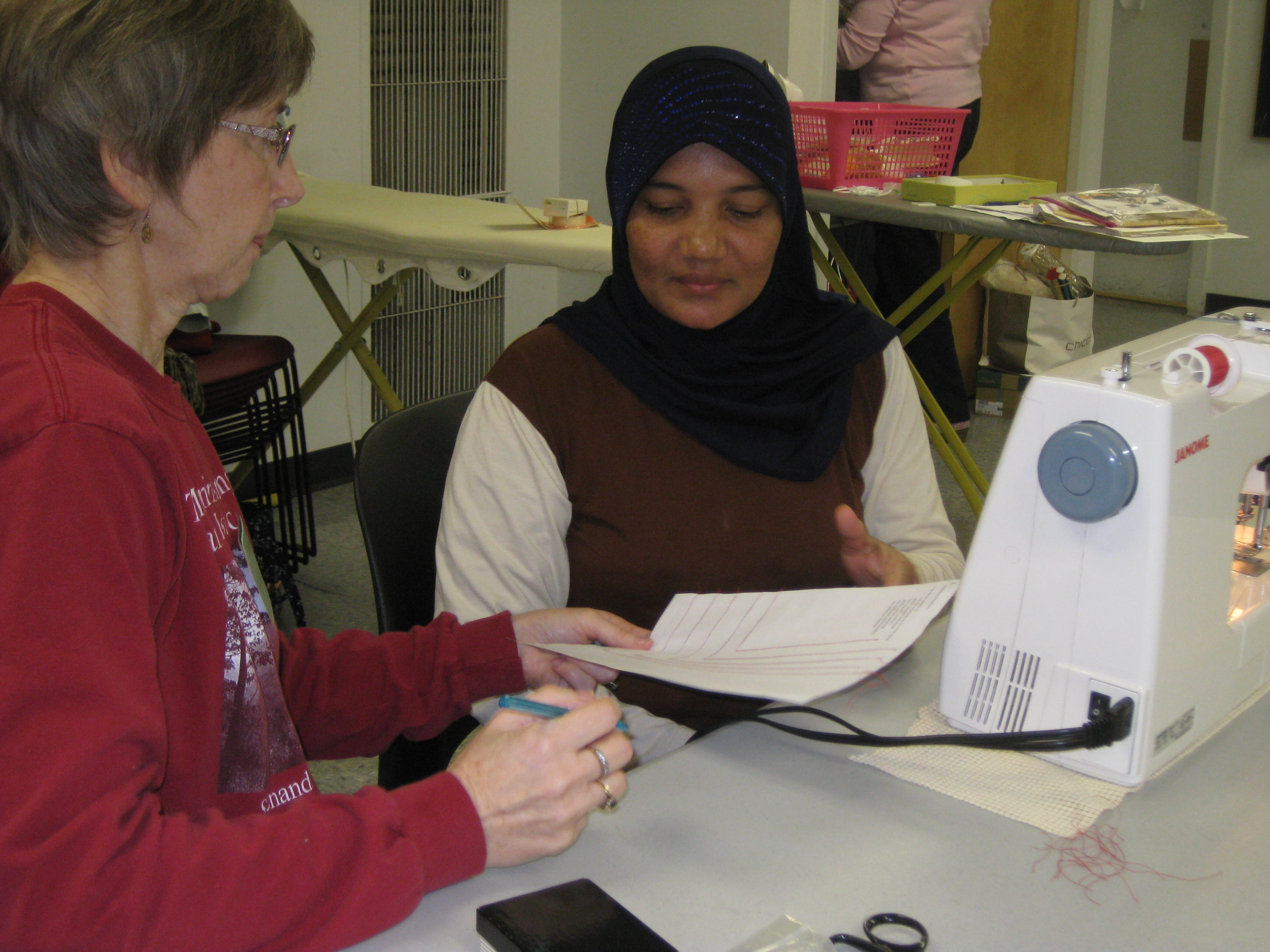 Sewing class - checking instructions