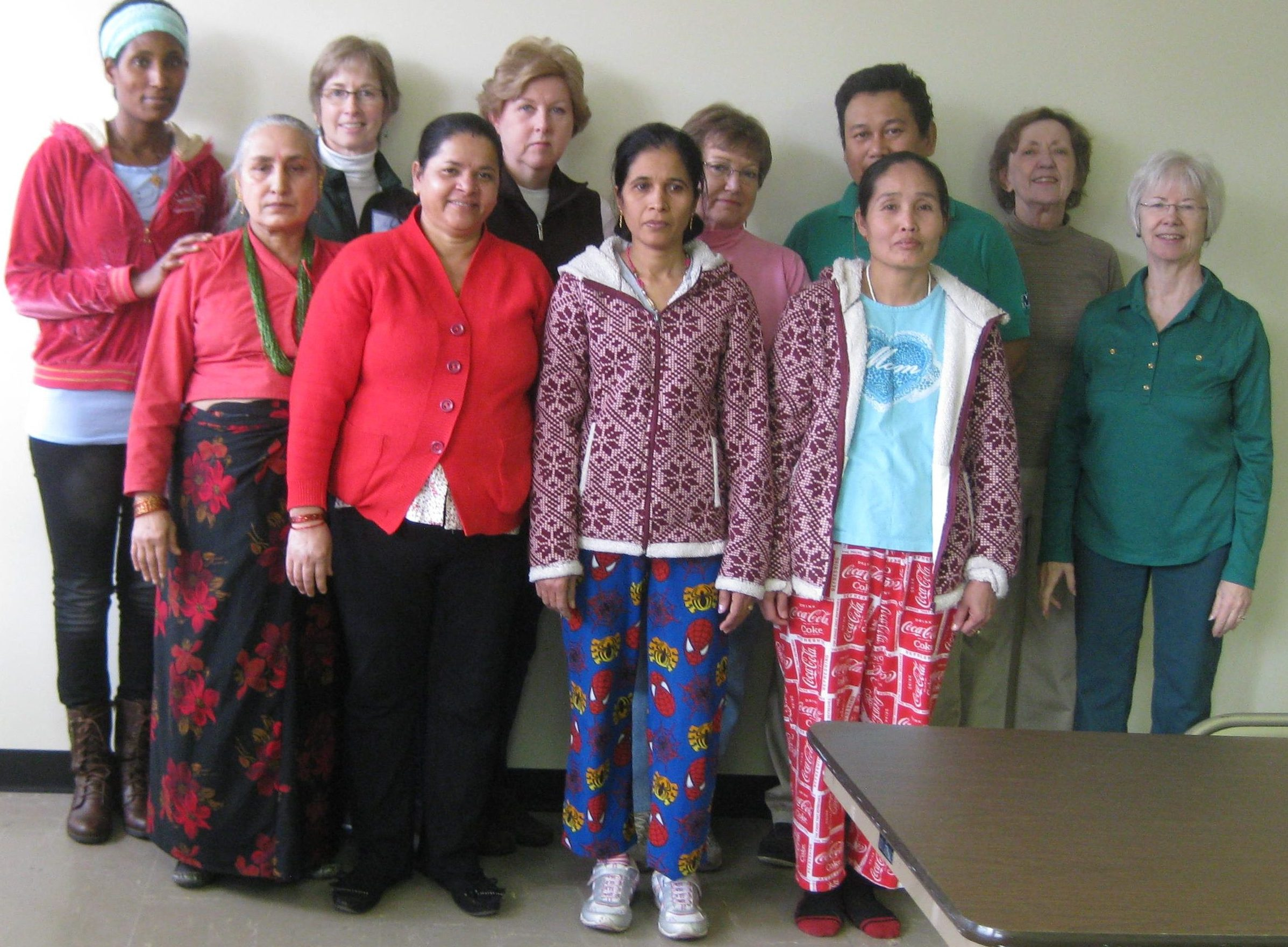 Sewing class - students and volunteers