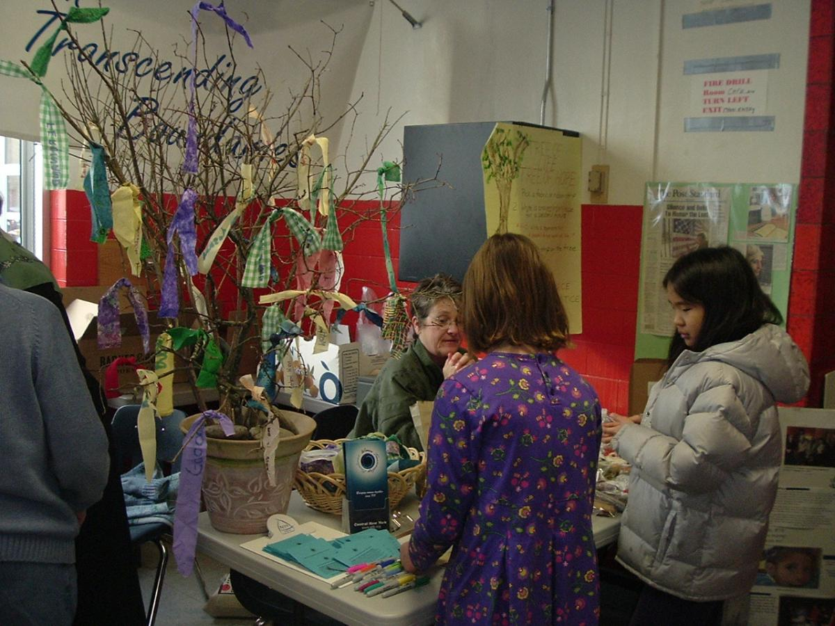 A booth at the Plowshares Festival
